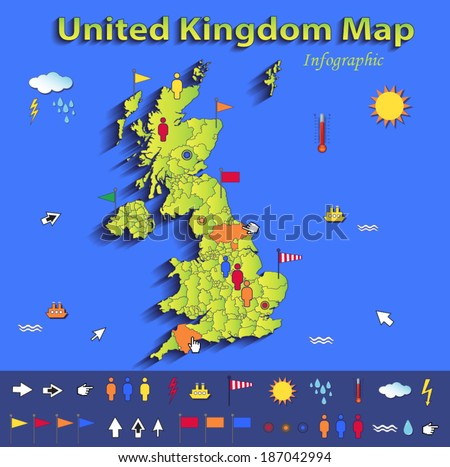 United Kingdom Great Britain England map infographic political map blue green card paper 3D vector individual states - stock vector