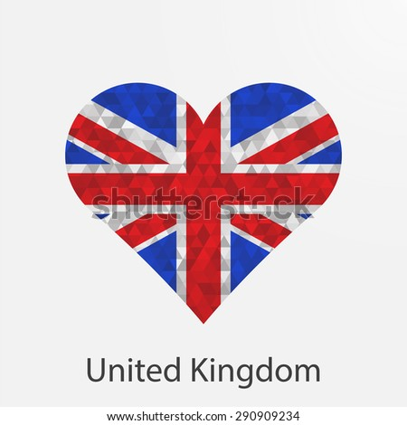 United Kingdom,Great Britain flag heart in geometric,mosaic polygonal style.Love to country.Abstract tessellation,background. Vector illustration EPS10 - stock vector