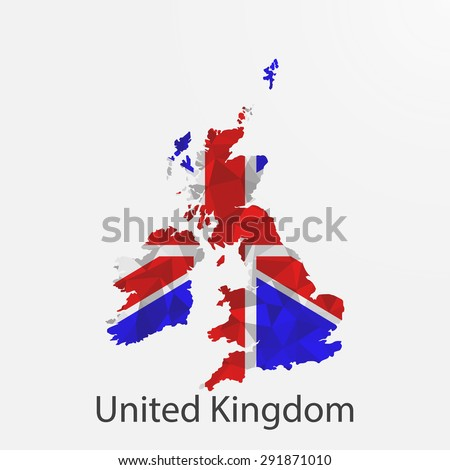 United Kingdom,Great Britain flag map in geometric,mosaic polygonal style.Abstract tessellation,background. Vector illustration EPS10 - stock vector