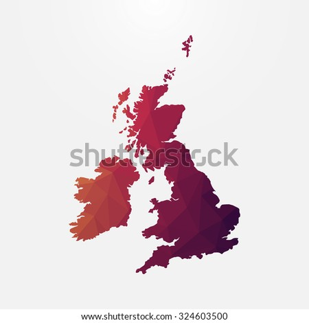 United Kingdom,Great Britain in geometric polygonal style.Abstract tessellation,modern design background. Vector illustration EPS10 - stock vector