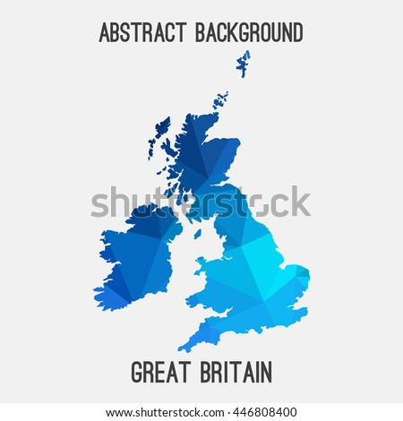United Kingdom,Great Britain,UK,GB map in geometric polygonal,mosaic style.Abstract tessellation,modern design background. Vector illustration EPS8 - stock vector