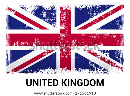 United Kingdom Great Britain UK grunge flag isolated vector in official colors and Proportion Correctly. country's name label in bottom. Vector Illustration - stock vector