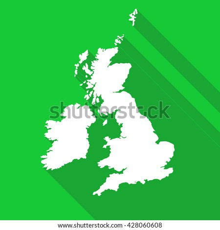 United Kingdom,Great Britain white map,border flat simple style with long shadow on green background - stock vector
