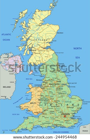 United Kingdom - Highly detailed editable political map with separated layers. - stock vector