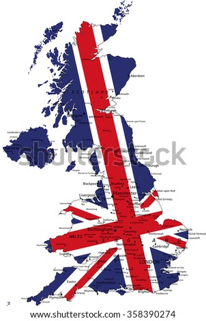 United Kingdom highly detailed political map with national flag isolated on white background. - stock vector