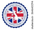 United Kingdom map and flag in vintage rubber stamp of country colours. Grungy travel stamp with map and flag of United Kingdom, vector illustration - stock photo