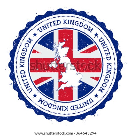 United Kingdom map and flag in vintage rubber stamp of country colours. Grungy travel stamp with map and flag of United Kingdom, vector illustration - stock vector