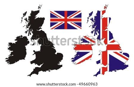 United kingdom map flag design - stock vector