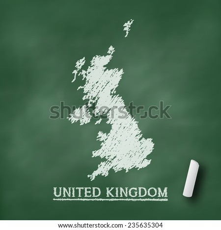 United Kingdom map on chalkboard green in vector format - stock vector