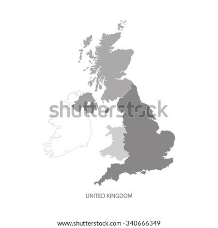 united kingdom map uk map greyscale