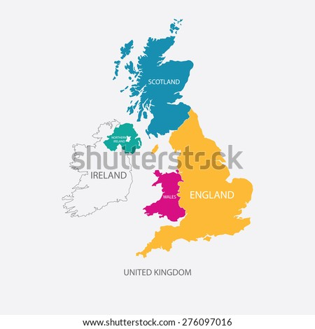 united kingdom map uk map with borders in different color