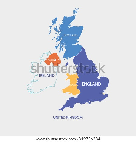UNITED KINGDOM MAP, UK MAP with borders in different color - stock vector