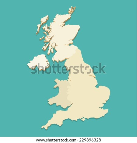 United Kingdom Map Vector Three Dimensional - stock vector