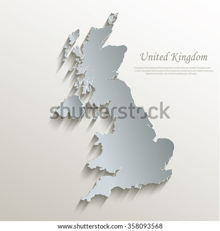 United Kingdom map white blue card paper 3D vector - stock vector