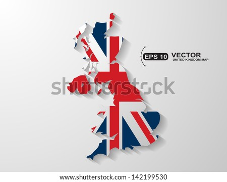United Kingdom map with shadow effect - stock vector