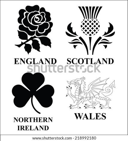 United Kingdom monochrome emblem set isolated on white background - stock vector