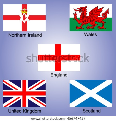United Kingdom national emblems of England Northern Ireland Wales Scotland on map background