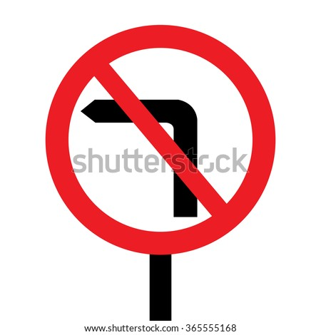 United Kingdom No Left Turn Sign - stock vector