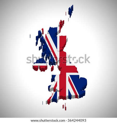 United Kingdom of Great Britain - 3D map and flag