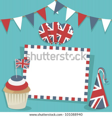 united kingdom party card with decorations and space for text - stock vector