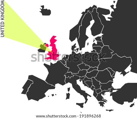 United Kingdom - political map of Europe with marked state. Marker looks like ray of light. (vector illustration) - stock vector