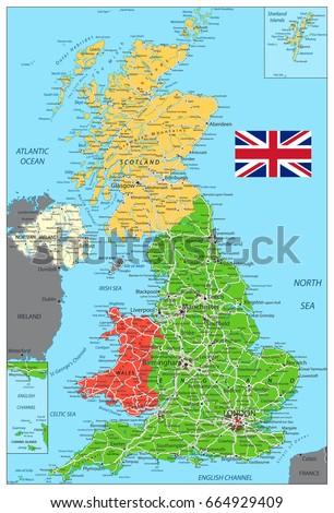 United Kingdom Political Map Roads Water Stock Vector - Political map of united kingdom