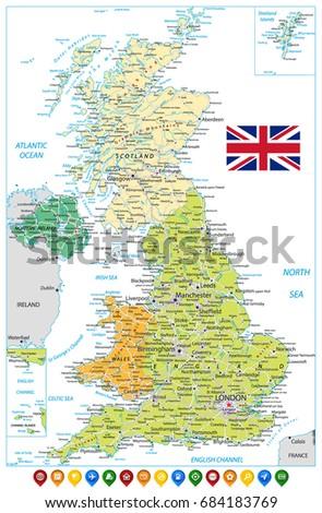 United Kingdom Road Map Navigation Icons Stock Vector 684183769