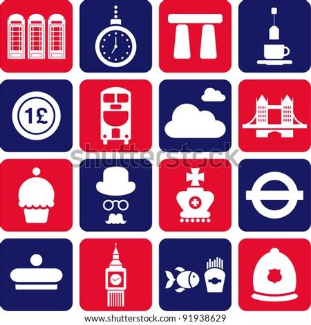 United Kingdom's pictograms - stock vector