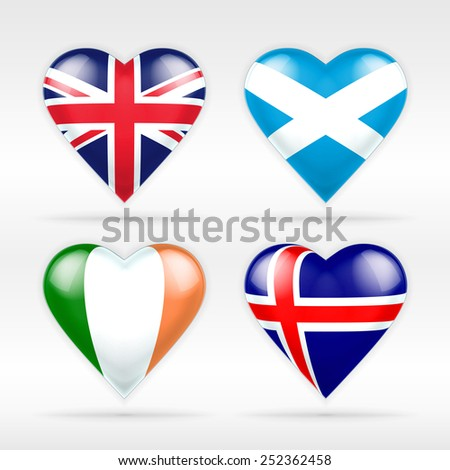 United Kingdom, Scotland, Ireland and Iceland heart flag set of European states as collection of isolated vector state flags icon elements on white - stock vector