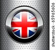 United Kingdom UK flag button on metal background, vector. - stock vector