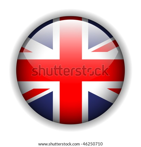 United Kingdom UK flag button, vector - stock vector