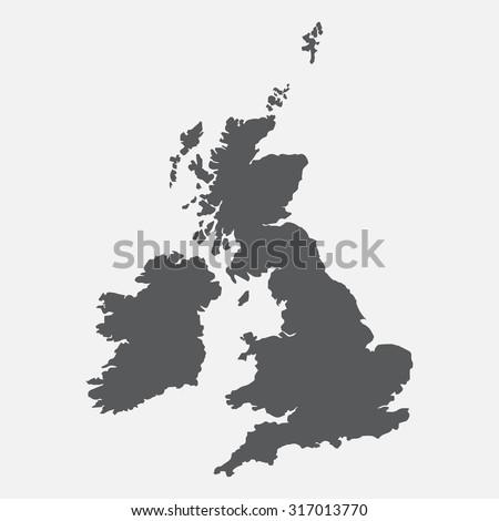 United Kingdom,UK,Great Britain grey map,border - stock vector