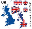 United Kingdom vector set. Detailed country shape with region borders, flags and icons isolated on white background. - stock photo