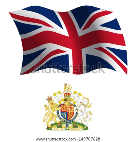united kingdom wavy flag and coat of arms against white background, vector art illustration, image contains transparency - stock vector
