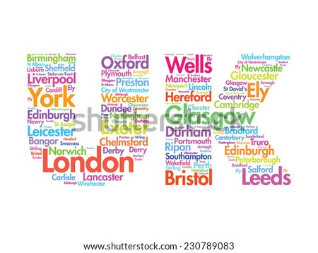 United Kingdom words cloud, cities, travel, agency logotype, vector background