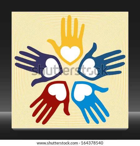 United loving hands vector.