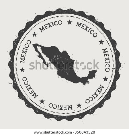 United Mexican States. Hipster round rubber stamp with Mexico map. Vintage passport stamp with circular text and stars, vector illustration - stock vector