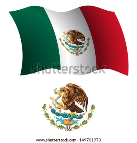united mexican states wavy flag and coat of arm against white background, vector art illustration, image contains transparency