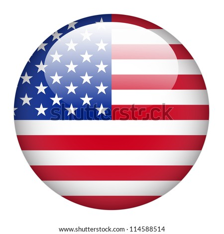 United State of America flag on button - stock vector