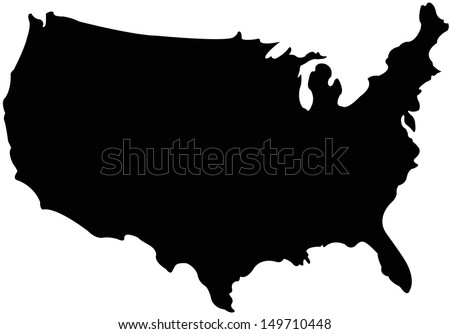 United Stated map in silhouette version - stock vector