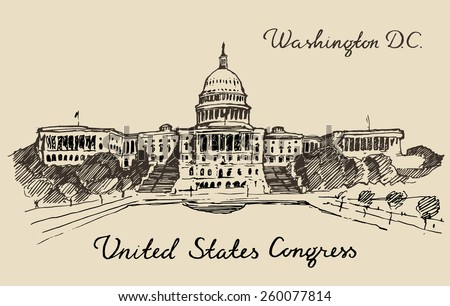 United States Capital Hill (Capitol dome) in Washington DC, hand drawn vector illustration, sketch, engraved style - stock vector
