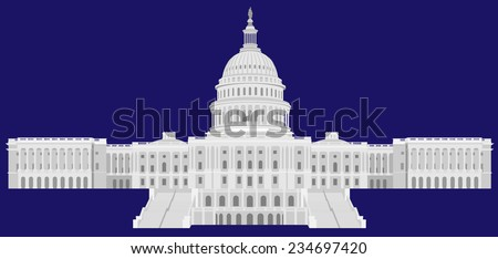 United States Capital Hill - Detailed Vector illustration   - stock vector