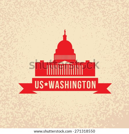 United States Capitol - The symbol of US, Washington DC. Vintage stamp with red ribbon - stock vector
