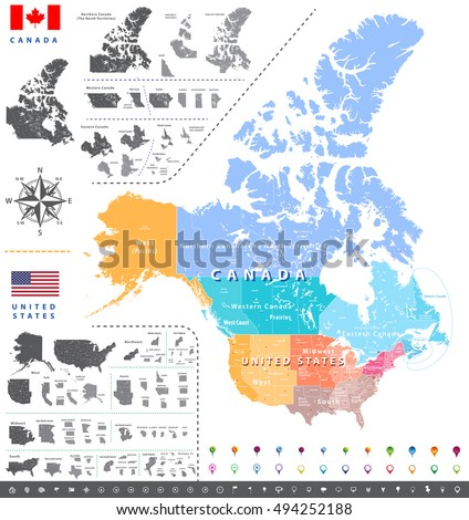 High Detailed North America Time Zones Stock Vector - Us map with regions labeled