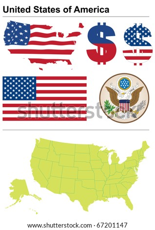 United States collection including flag, plate, map (administrative division), symbol, currency unit - stock vector