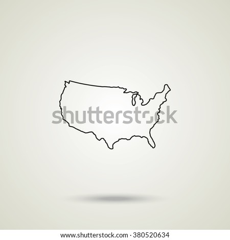 United States detailed map. Outline map icon - stock vector