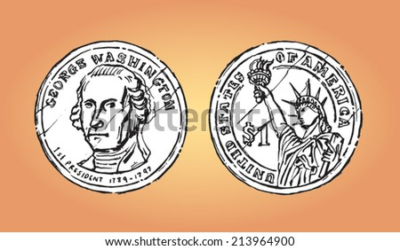 United States dollar coin (both sides). Hand drawn isolated vector ...