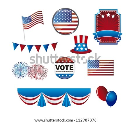 united states elements isolated over white background. vector illustration - stock vector