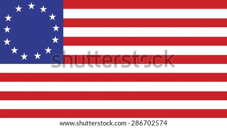 United States flag displaying thirteen stars for the original colonies. Vector format. - stock vector