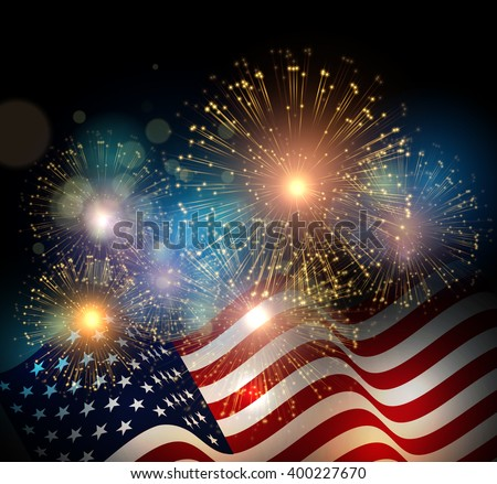 United States flag. Fireworks background for USA Independence Day. Fourth of July celebrate. - stock vector